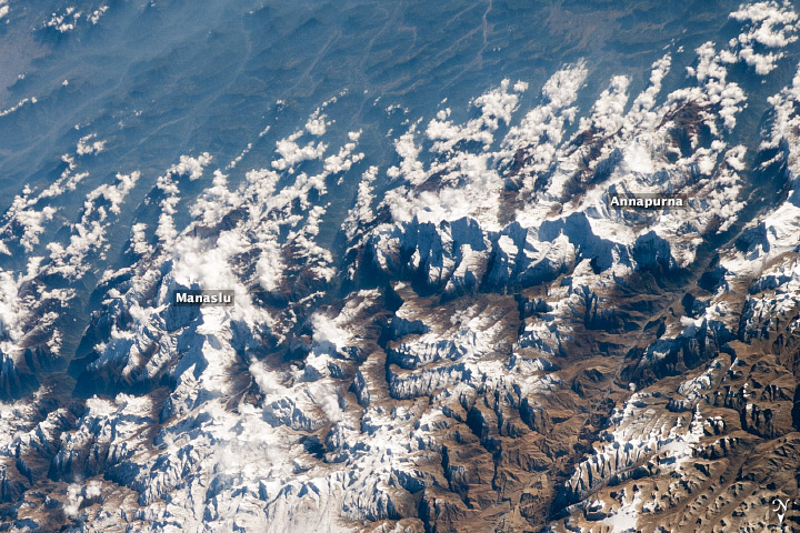 Annapurna and Manaslu, photographed from the ISS while it was above Tibet.