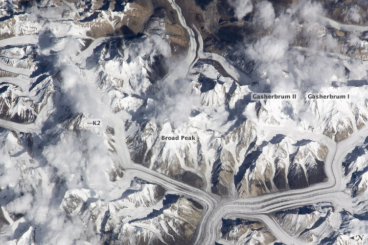 The Karakoram Range viewed from the International Space Station.