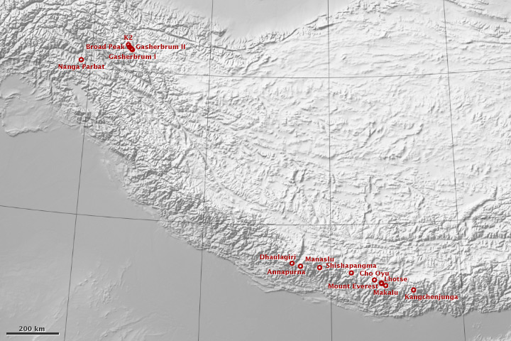 Shaded relief map of the Himalaya and Karakoram, with locations of the 8,000-meter peaks.