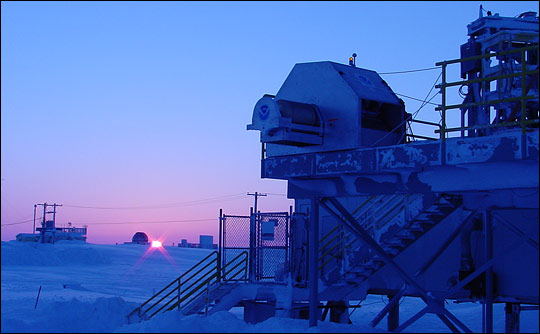 Photograph of instruments monitoring atmospheric properties in Barrow, Alaska