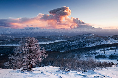 Photograph of Russia's Kizimen volcano, on the Kamchatka Peninsula.